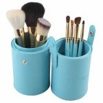 7 Makeup Cosmetic Brushes Brush Set in Round Leather Case