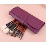 8 Cosmetic Eyebrow Lip Eyeshadow Brushes Makeup Brush Set With Purple Case