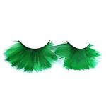 Драматические зеленые ресницы из перьев